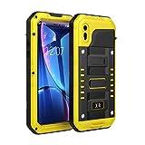 Beeasy Coque iPhone XR Antichoc,Étanche Protecteur d'Écran Intégré Qualité Militaire Robuste Résistant Metal IP68 Antipoussière Anti Pluie Neige Étui iPhoneXR Travail,Housse pour l'extérieur,Jaune