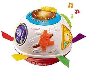 VTech - Rueda la Bola, Pelota interactiva Que Gira y estimula el Gateo, enseña números, Figuras y el Nombre de los Animales y Sus Sonidos, más de 45 Canciones, melodías y Frases (80-151522)