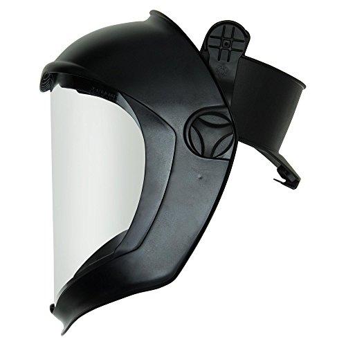 Uvex S8505Bionic Shield, Schwarz Matt Face Shield und Hard Hat Adapter, transparent Polycarbonat unbeschichtet Objektiv von Uvex (Hat Adapter Hard)