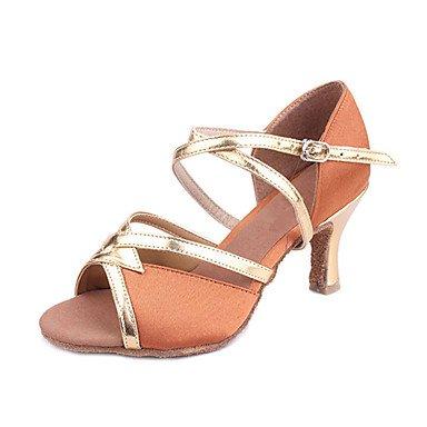 Silence @ pour femme satiné & PU Danse Chaussures Sandales pour latine/salle de bal noir