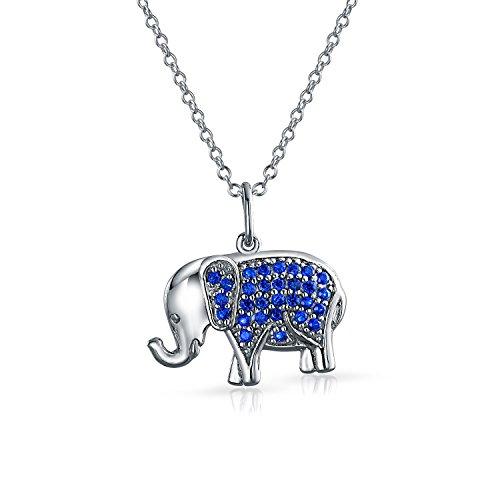 Azul Zafiro Simulado CZ Zirconio Cúbico De Suerte Colgante Collar Elefante Troncal Mujer Adolescente Plata De Ley 925