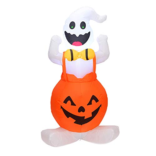 Leobtain 1.2m Halloween Inflatable Blow Up Ghost on Pumpkin with LED Light 4ft Tall Scary Halloween Outdoor Yard - Kostüm One Night Stand