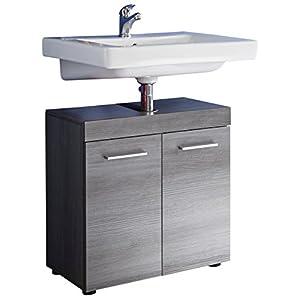 trendteam smart living Armario bajo de lavabo para baño Runner, 58 x 57 x 31cm, con decoración en plateado ahumado y abundante espacio de almacenamiento
