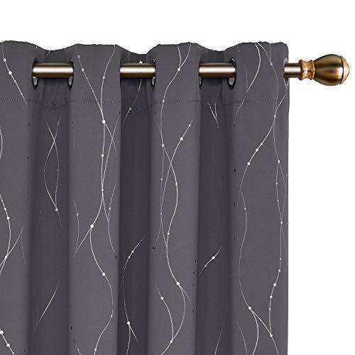 Deconovo Cortinas Opacas de Salón Diseño Líneas Plateadas para Habitación con Ojales 140 x 240 cm 2 Paneles Gris Oscuro