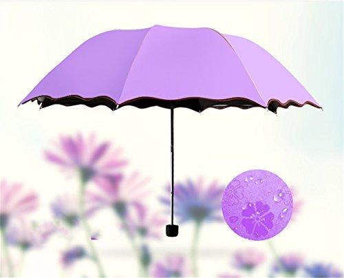 Ombrello,CAMTOA Ombrello da Viaggio Cambia Colore Quando è Bagnato, Creativo Ombrello Pieghevoli Antivento,Anti-UV Pioggia / Sole Ombrello - Alta Qualità e Resistenza Per Viaggio Outdoor