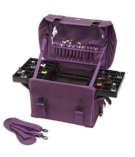 Seya Beauty Soft Sided Pro Makeup Artist Nail Art Organizer Train Case Carry-on w/ Removable Dividers & Travel Brush Holder (Purple) by Seya Beauty