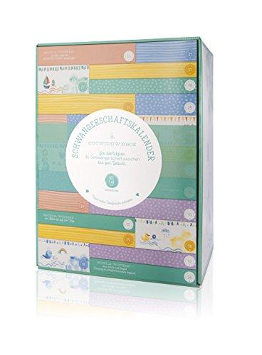 Hochwertiger Erstausstattungs-Schwangerschaftskalender/Countdownbox mit Geschenken für 24 Schwangerschaftswochen
