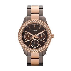 Reloj Fossil ES2955 de cuarzo para mujer con correa de acero inoxidable bañado, color multicolor de Fossil