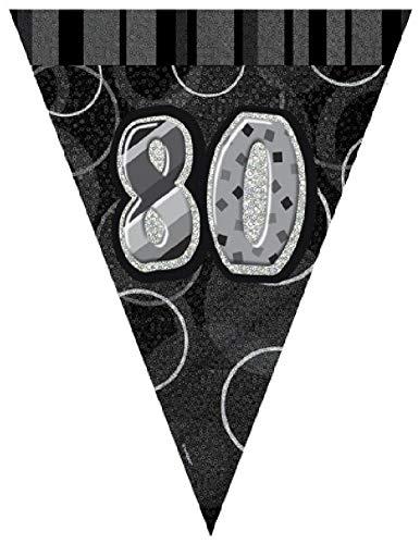 NANA'S PARTY Wimpelkette mit Prismatischem Dreieck, 30,5 cm, Schwarz/silberfarben 80th Birthday/Age 80