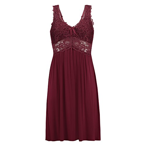 Hunkemöller Damen Slipdress Modal Lace- Gr. L, Windsor Wine