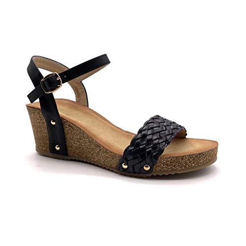 Kork Heels (Angkorly - Damen Schuhe Sandalen Mule - Plateauschuhe - praktisch handlich - Bequeme - Geflochten - Nieten-Besetzt - Kork Keilabsatz high Heel 6 cm - Schwarz FD-42 T 41)
