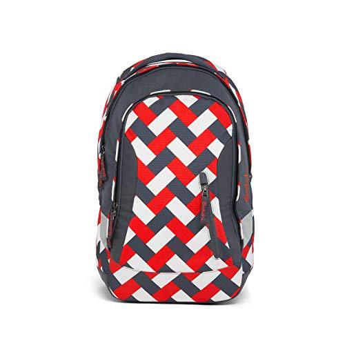 satch Sleek Chaka Bricks, ergonomischer Schulrucksack, 24 Liter, extra schlank, Rot/Weiß/Schwarz -