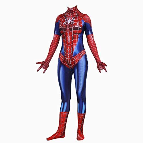 Mann Iron Bodysuit Kostüm - Yanbeng Womens Spider-Man Cosplay Kostüm für Erwachsene Elastic Bodysuit Halloween Battlewear Performance Apparel,Women,S