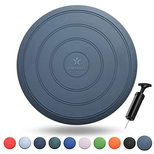 BODYMATE Ballsitzkissen Comfort inkl. Pumpe GRAU-BLAU 33cm Durchmesser - Balance-Kissen, Luftkissen, Balance Pad - Core-, Fitness-, Reha-, Koordinations- und Rückentraining