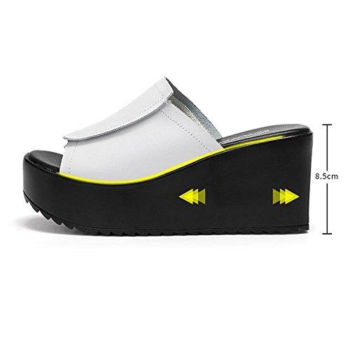 8.5cm Chaussures à talons hauts en talons hauts en talons hauts Talons hauts en cuir Sandales (noir / blanc) ( Couleur : Noir , taille : EU38/UK5.5/CN38 ) Blanc