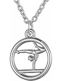 Lemegeton Gymnastique Creux Pendentif Rond Collier Mode Bijoux pour Hommes Femmes Cadeau pour Gymnaste