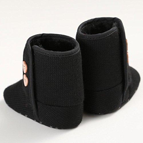 kingko® Fille de bébé Lit de bébé Chaussures Bouton enfant Infant Bottes Semelles souples neige (11, rose) noir