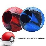 Skin Cover Kompatibel mit Nintendo Switch Poke Ball Plus Controller, Hikfly Silikon-Pokeballgriff mit Stdus-Hülle Tragbares Zubehör für Pokémon Lets Go Pikachu Eevee Game (Pack 2, CamoRedBlue)