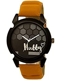 Star Villa Attractive Stylish Sport Look Hubby Logo Black Dial Stylish Brown Leather Strap Analog Watch For Men...