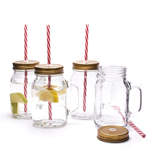 Lemonade Jar (Set of 4 Traditional American Old Style Mason Pint Jar Drinking Glasses With Sturdy Handle Screw Cap Lid & Straw- Ideal For Enjoying Your favourite Cold Beverage - Ideal for Traditional Lemonade / Iced Tea old Ale by CKB Ltd)