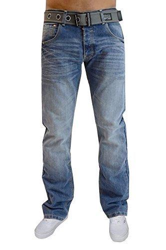 Jeans Hommes Crosshatch Neuf Délavé Jambe Droite Pantalon Jeans Ceinture Incluse Délavé