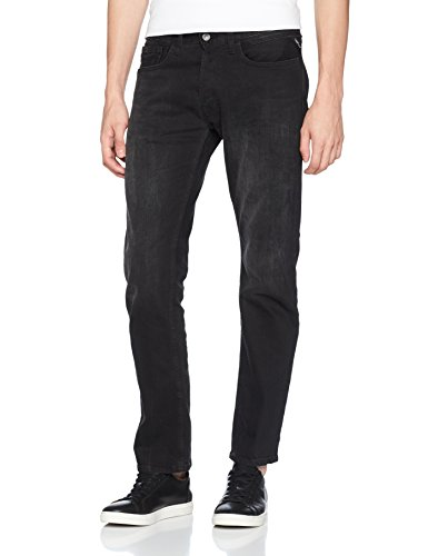Replay Herren Straight Jeans Newbill Schwarz (Black Denim 7)