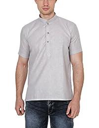 Royal Kurta Men's Cotton Linen Short Sleeve Kurta