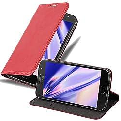 Cadorabo Hülle für Motorola Moto G5S - Hülle in Apfel ROT - Handyhülle mit Magnetverschluss, Standfunktion und Kartenfach - Case Cover Schutzhülle Etui Tasche Book Klapp Style