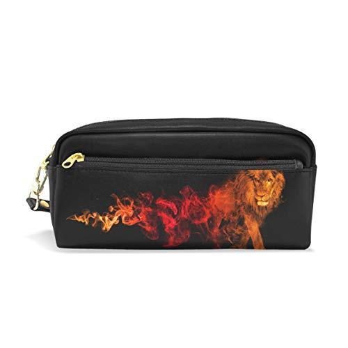 chönem Löwen-Aufdruck, für Reisen, Make-up-Tasche, wasserdicht, Leder, 2 Fächer, ideales Halloween-Geschenk für Kinder Mädchen Jungen ()