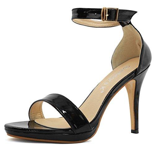 Allegra K Damen offener Spitze High Heels metallische Knöchelriemchen Sandalen de Schwarz