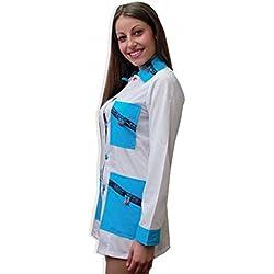 Bata casaca maestra escolar Asilo estética navideño trabajo botones algodón, azul claro, XS