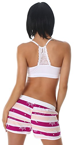 Veryzen Damen Shorts kurz mit farbig abgesetzen Rändern hellrosa lila