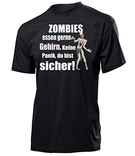 Zombies Essen gerne Gehirn 5127 Halloween Kostüm Herren Männer Fun Shirt Aufdruck Lustig Spruch Tshirt Geburtstag Geschenk Schwarz XL