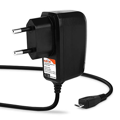 subtel® Qualitäts Ladekabel - 1.1m (1A / 1000mA) kompatibel mit Benjie Mp3 Player / K11 / S8 / X1 / A28 (5V / Micro USB) Ladegerät Netzteil Charger