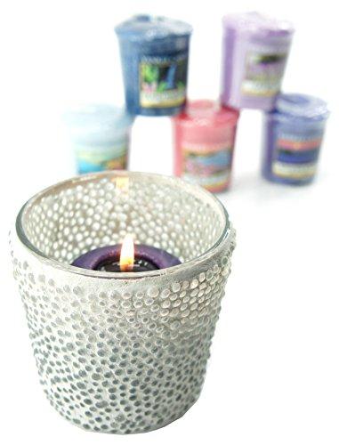 1 x Yankee Candle Bubble Mosaico transparente cristal soporte Set de regalo incluye 6 x surtido de velas votivas (precio: 8,99€)