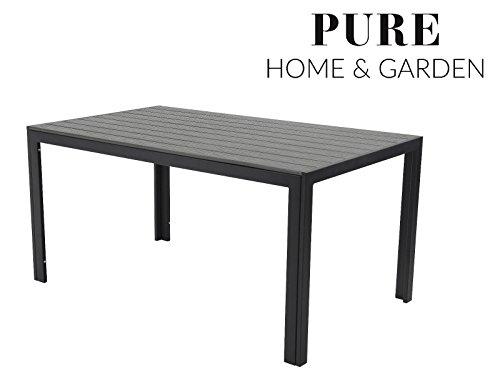 Aluminium Gartentisch 'Fire XXL' mit Polywood Tischplatte, 180x90 absolut wetterfest, anthrazit aus...