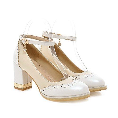 VogueZone009 Damen Pu Leder Hoher Absatz Rund Zehe Gemischte Farbe Schnalle Pumps Schuhe Weiß NokbVQLaV