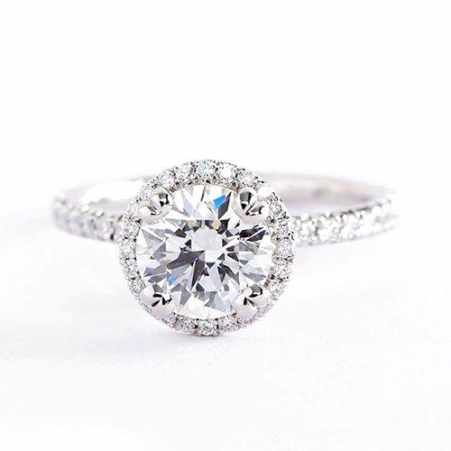 Verlobungsring Weißgold 18 Karat (750) Diamant 1,50 Karat SI2 F Rundschliff