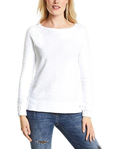 Cecil Damen 311786 Sweatshirt, Weiß (Pure Off White 10125), Large - Bouclé-baumwolle Pullover