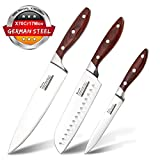 Acelink Kitchen Knife Set 3 Piece Professional Knife Set, 8'' Chef Knife, 7'' Santoku Knife, 5'' Utility Knife for Cooking Lovers in Gift Package