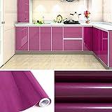 KINLO Hochglanz Selbstklebend Tapeten Rollen 61cm x 5m Refurbished Küchenschränke Kleiderschrank PVC Aufkleber Folie Möbel Schrank Tür Papier für Wandplakate - Lila