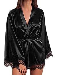 Subfamily Nuisette Satin Chemise de Nuit Femme Lingerie Dentelle Robe Pyjamas Nuit Bretelle Robe de Nuit Femme Nuisettes Lingerie en Dentelle Peignoir