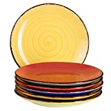 6-tlg. Teller-Set Malaga | Bunt | Kuchenteller Rund | Ø 19.5 cm | H 2.5 cm | Kleine Dessert-Teller | Porzellan-Speiseteller | Handbemalt | Bicolor