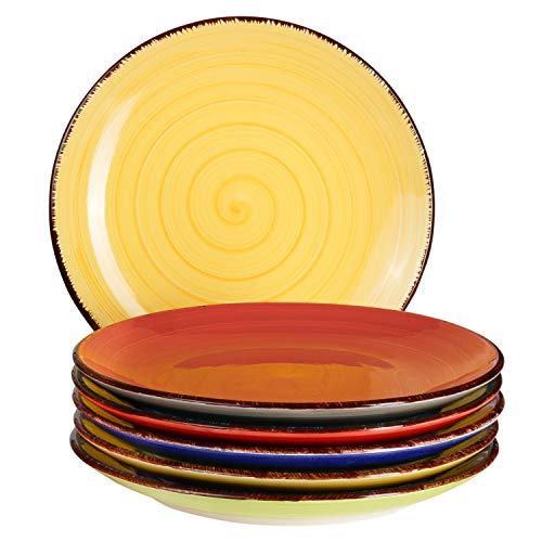 6-TLG. Teller-Set Malaga | Bunt | Kuchenteller Rund | Ø 19.5 cm | H 2.5 cm | Kleine Dessert-Teller | Porzellan-Speiseteller | Handbemalt | Bicolor - Dessert-teller