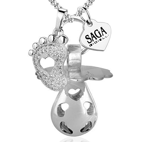 Saga gioielli® collana chiama angeli bola messicana ciuccio charm piedino swarovski elements acciaio inossidabile