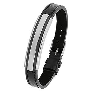 s.Oliver Herren-Armband 17,5-21,5 cm verstellbar Edelstahl IP Black Beschichtung Leder schwarz