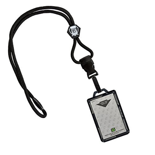 Specialist ID Heavy Lanyard and Identity Stronghold 2-Card RFID Blocking Badge Holder (Black) by Specialist ID