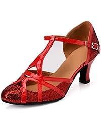 c9f36fcc162a MINITOO QJ6133 Womens Closed Toe High Heel PU Leather Glitter Salsa Tango  Ballroom Latin T-Strap Dance…