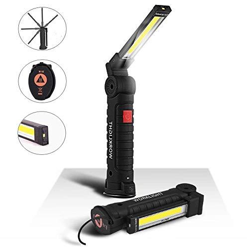 Lampe de Travail COB Baladeuse LED 800LM Ultra Lumineuse, USB Rechargeable Inspection Lampe Portable avec Base Magnique, 5 Modes Lumière 6000K Lanterne pour Auto Garage Atelier Bricolage