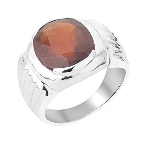 G-Luck Certified Natural Garnet Gomed 92.5 Sterling Silver Gemstone Ring For Men